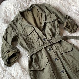 Olive Army Green Button Down Trench Coat Dress
